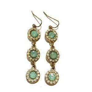 Teal and rhinestone earrings